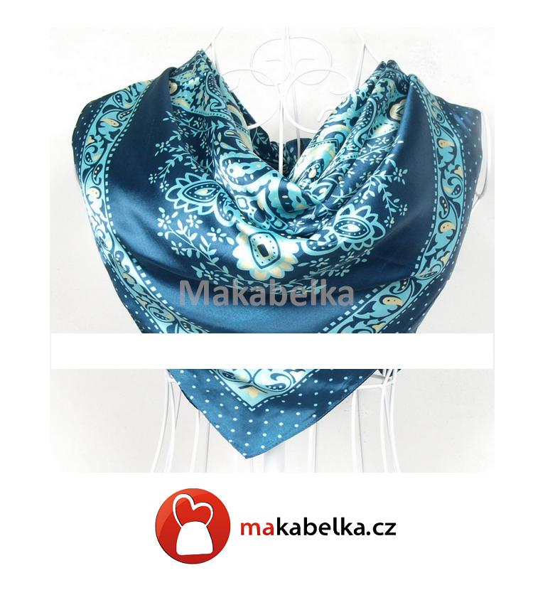 0d87b1bbe Dámský modrý šátek na krk Ingrid | Makabelka - srdcová záležitost ...
